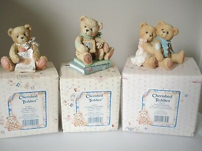 Cherished Teddies lot of 3 figures birthday bears Color me 5 Age 6 years & other