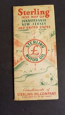 Antique 1935 Sterling Oil Company Map Pennsylvania New Jersey US
