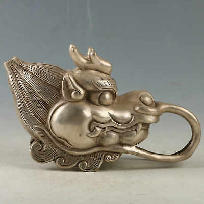 Collectible Decorated Silver-plated Copper Dragon Head Shape Teapot RT0022.b