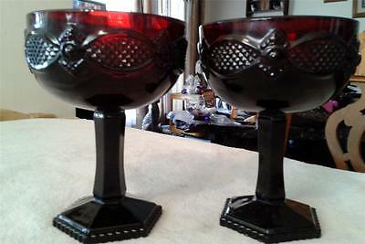 Avon Cape Cod 2 Shallow Saucer Champagne Ruby Red glass