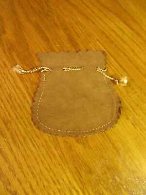 """Vintage Genuine Suede Leather Brown Pouch Bag Made In Italy Approx 3&1/2"""" X 3"""""""