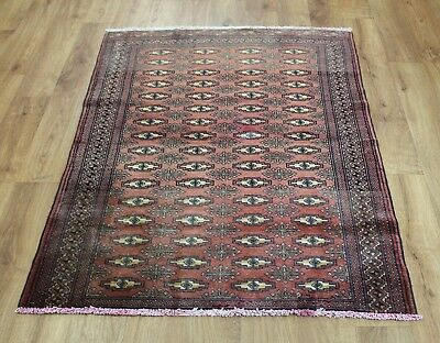 Old Wool Hand Made Persian  Oriental Floral Runner Area Rug Carpet 140 X 107 Cm