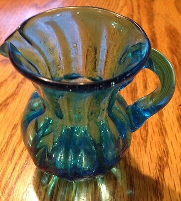 Vintage Handcrafted Hand Blown Glass Small Blue Pitcher Creamer Antique