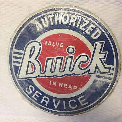 """Metal Buick round sign Authorized Valve Buick in Head Service 10"""" USA"""