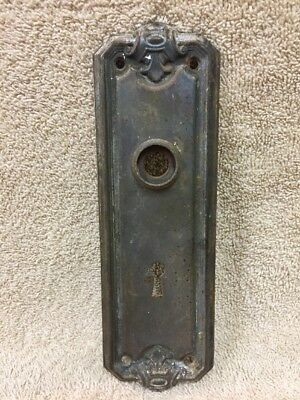 Vintage Chippy Stamped Steel Victorian Door Knob Back Plate Escutcheon
