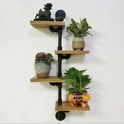 4 Tiers Industrial Wall Mount Iron Pipe Shelf Retro Rustic Urban Wooden Vintage