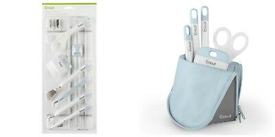 Cricut Blue ESSENTIAL TOOL SET with TRIMMER & Blue ACCESSORY POUCH NEW