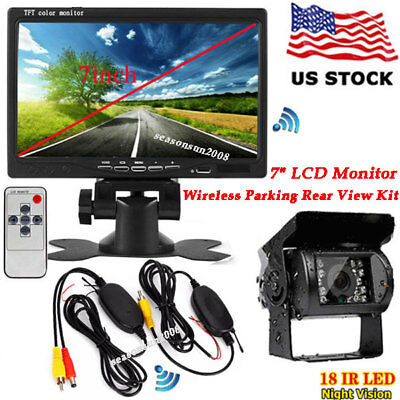 "7"" TFT LCD Monitor for RV Truck + Wireless Reversing Backup Camera Night Vision"