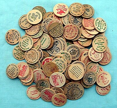 Lot of 100 Mixed Wooden Nickels