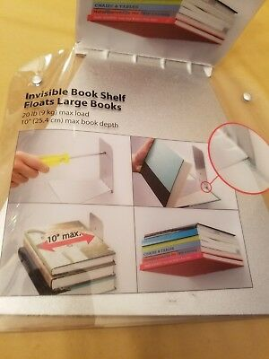 NEW Umbra Conceal Floating Book Shelf Large Silver steel invisible