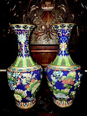 2 Antique Vintage Bold Chinese Cloisonne Copper Enameled Vases Pair Set Brass