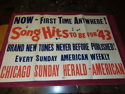 "Original 1943 24"" X 35"" Chicago Newspaper ""song Hits"" Advertising Sign Poster"