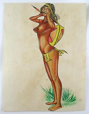 Vintage Australian Painting - ABORIGINAL WOMAN STANDING, Not signed, c1950-60's