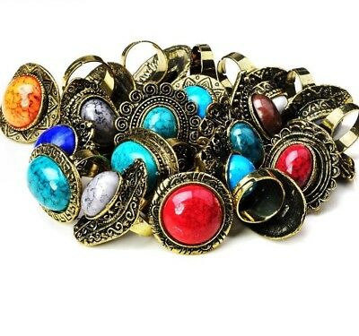 20 PCS Wholesale Vintage Natural Stone Rings Antique Fashion Women Ring Jewelry