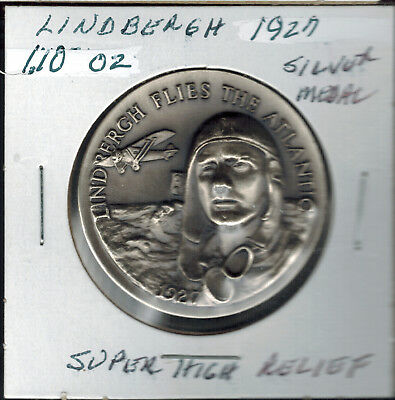 1927 Lindbergh Sprit St Louis Longine's ASW 1.10 Silver .925  Super High Relief