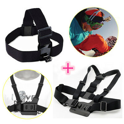 Adjustable Head Strap Mount + Body Chest Harness For GoPro HD Hero 1 2 3 3+ 4