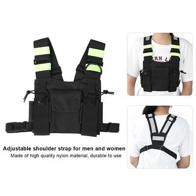 4 Yellow Reflective Bands Chest Harness Bag Pack Holster Radio Walkie Talkie