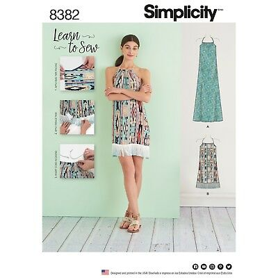 Simplicity 8382 0662 Learn To Sew Halter Pillowcase Dress Pattern Sz