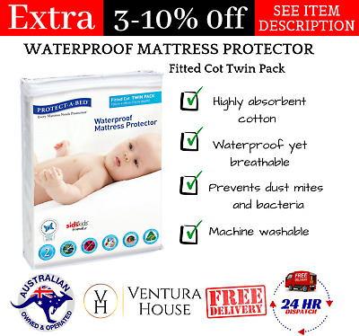 New Protect A Bed Best Fitted Cot Twinpack & Waterproof Mattress Protector Cover