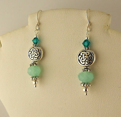 Irish Silver Celtic Knot Tierra Cast beaded Earring with Teal Swarovski Crystals