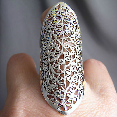 JALI FINGER Size US 8.5 XL-Wide Jali Band SILVERSARI Art Ring Solid 925 Silver