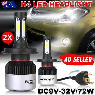 Nighteye H4 72W 9000LM HB2 LED Headlight Kit Hi/Lo Beam Globe Bulbs 6500K JD
