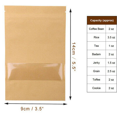 100Pcs Resealable Clear Window Ziplock Kraft Paper Food Gift Bags Stand Up UK
