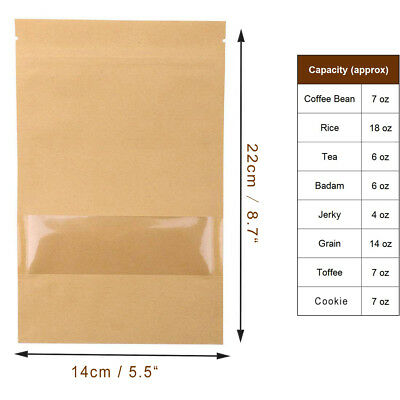 "100X Ziplock Kraft Paper Food Bags Resealable Stand Up With Window 5.5""X8.7"""