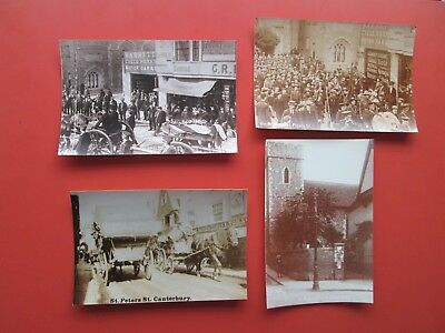 Canterbury: 4 Repro. Postcards - St. Peter`s Street (Military Funeral/Scouts)