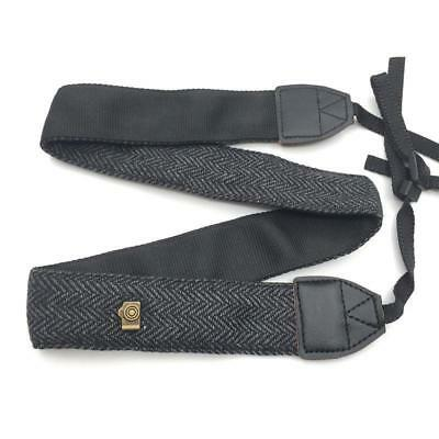 Genuine Cotton Leather Camera Shoulder Neck Strap For Nikon Canon Sony Black