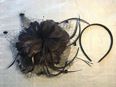 Women's Wedding Party Headpiece Fascinator Feather Flower Hair Clip Headband
