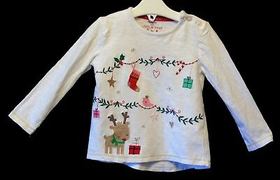 Baby Girls F&F White Embroidered Festive Scene Xmas Long Sleeve Age 9-12 Months