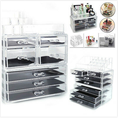 Clear Acrylic Jewelry Makeup Cosmetic Organizer Case Drawers Storage Display Box