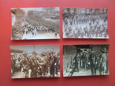 Canterbury: 4 Repro. Postcards of 7th Dragoon Grds. in Sturry Rd. & Station 1908