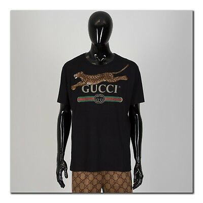 4848f432938 AUTHENTIC BLACK T-SHIRT With Slightly Reflective Gucci Logo ...
