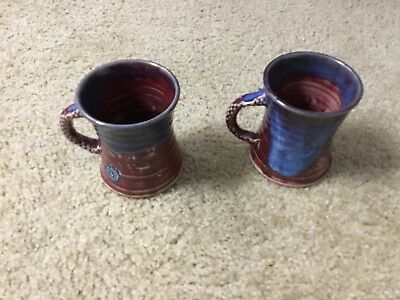 MICHAEL KENNEDY STUDIO CERAMIC lot of 2 large blue-brown mugs/cups. Fish/flower