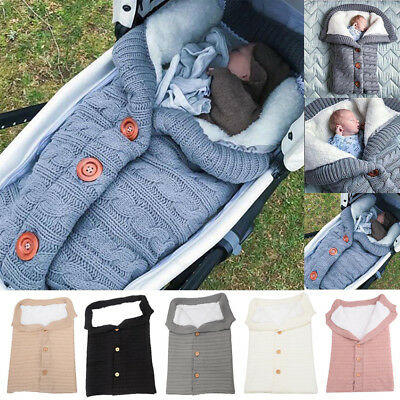 Newborn Baby Infant Knit Swaddle Wrap Swaddling Blanket Winter Warm Sleeping Bag