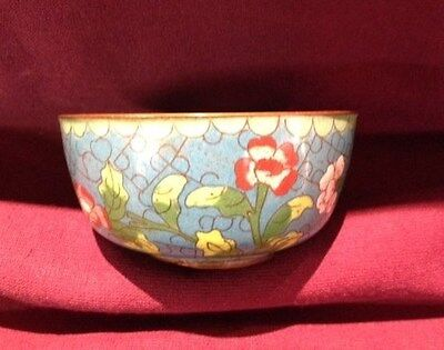 Antique, Asian Antiques, Bowl, Cloisonne, Blue floral,1850-1899,signed, China