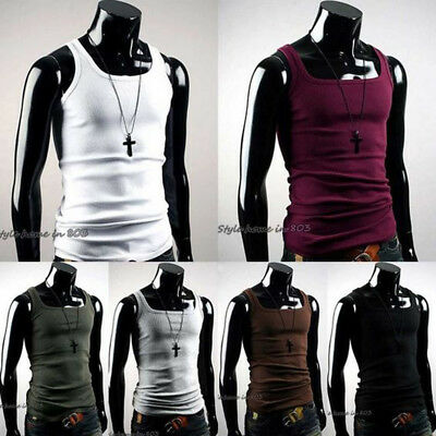 Men's Cotton T-Shirt Vest Fitness Muscle Ribbed Wife Beater Tank Casual Top Tee