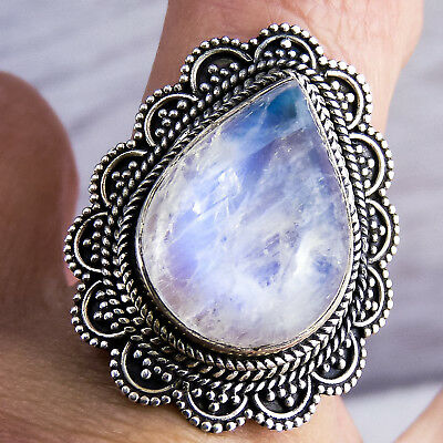 GRANULATION LACE Sz US 7.25 SilverSari Ring Solid 925 Sterling Silver MOONSTONE