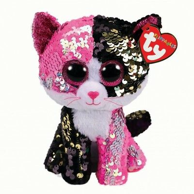 "Malibu The Flippable Sequin Cat Toy, Ty Flippables Collection 9"" (23cm)"