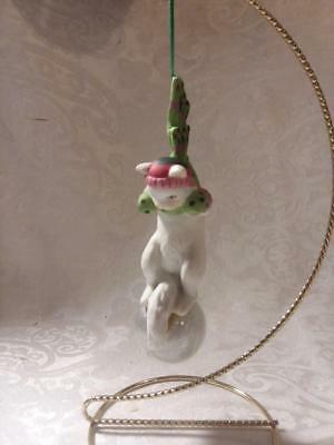 Cat wearing Scarf, Standing on Ball Ornament, Christmas Ornament, NO BOX