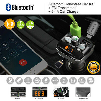 Bluetooth 4.2 Wireless Handsfree Car FM Transmitter MP3 Player 2 USB Charger Kit
