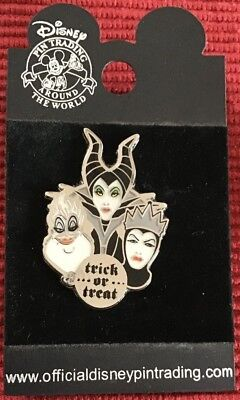 Disney Villains Maleficent Ursula Evil Queen Halloween Trick or Treat Pin Rare