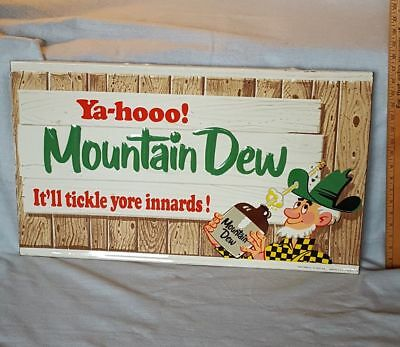 RARE Vintage ORIGINAL Mountain Dew Metal Sign Willy Hillbilly Great old survivor