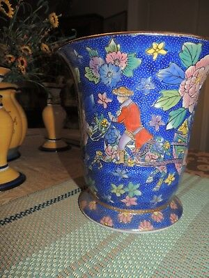 """Vintage Blue and Gold Oriental Vase With Chinese Figures 8 INCH TALL/ 8"""" MOUTH"""
