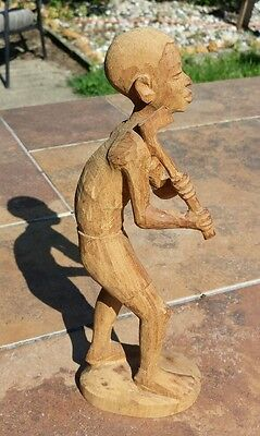 Vintage Unique African Handcarved Wood Man Holding Axe Sculpture