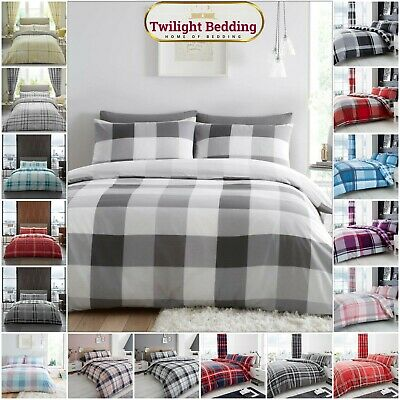 Double & King Size Denim Check Quilt Duvet Cover Bedding Set With Pillow Case
