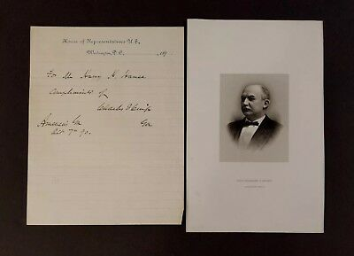 1890 Charles F Crisp, Speaker of Congress House of Rep Letterhead ~ Autograph