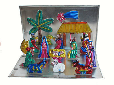 MEXICAN TIN CHRISTMAS NATIVITY CRECHE - Fold-Up Display. 10-inch. Handcrafted!